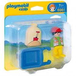 Trabajador con Carretilla - Playmobil 1.2.3