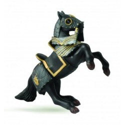 Caballo alzado con armadura negro - Papo