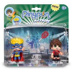 Pinypon Action - Pack De 2 Figuritas Superhéroe y Futbolista