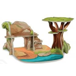 Construcción Mini Sabana /Dinosaurios /Castillo Cartón - Isiplay PAPO