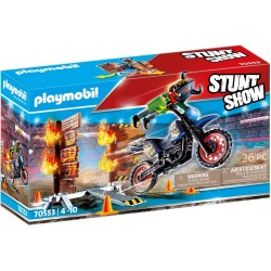 Stuntshow Moto con Muro de Fuego - Playmobil